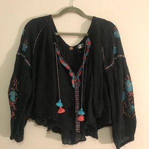 Free People Embroidered Peasant Blouse